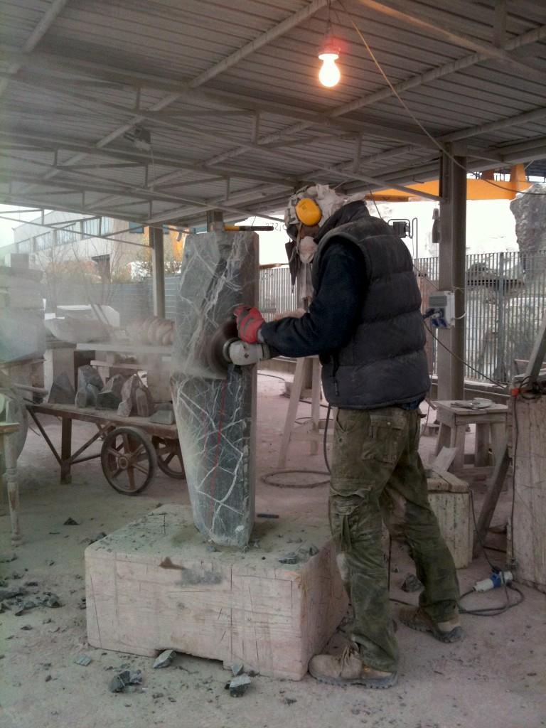 Giacomo Ravagli making a huge Barometro lamp base