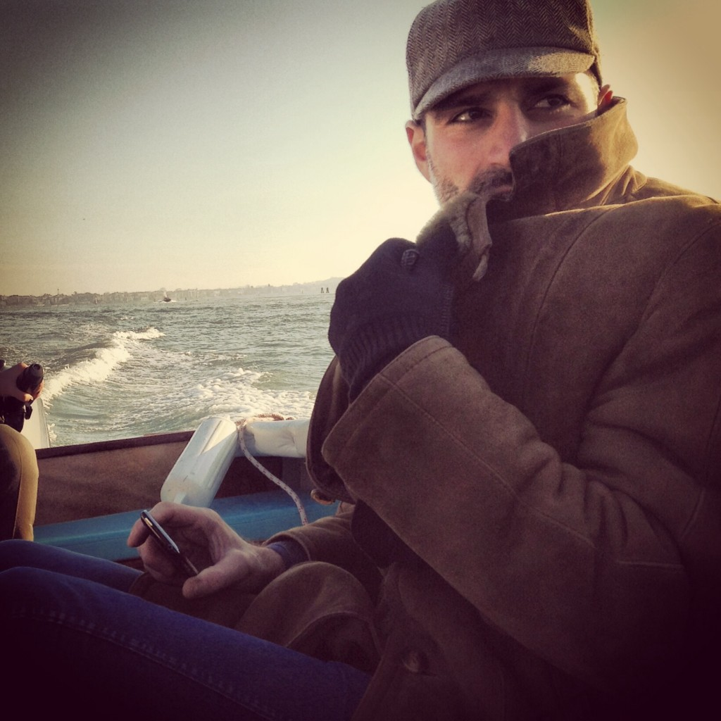 Giacomo Ravagli, end 2013, riding a boat in Venice