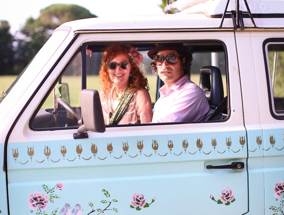 Lili and Jesko with Turquoise VW, 2015