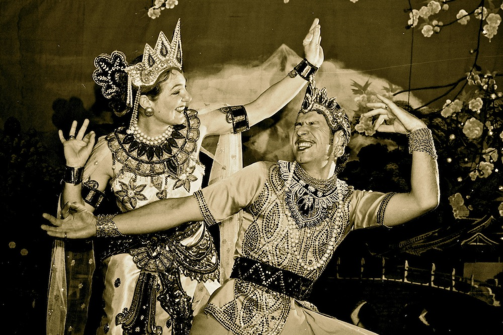 Lili and Jesko Taking Photos Dressed as Burmese Dancers in a        Tented Photo Studio, Bagan, Burma/Myanmar 2004