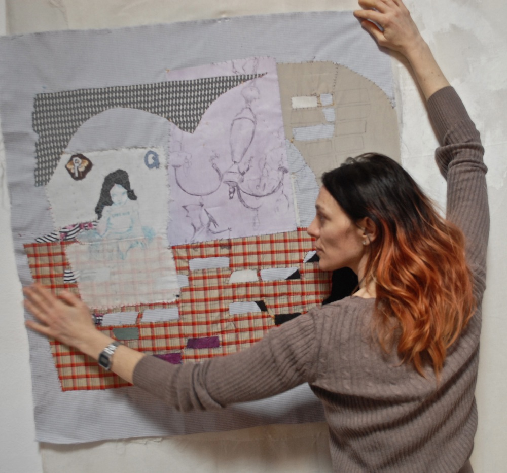 Velia Gelli with her artwork
