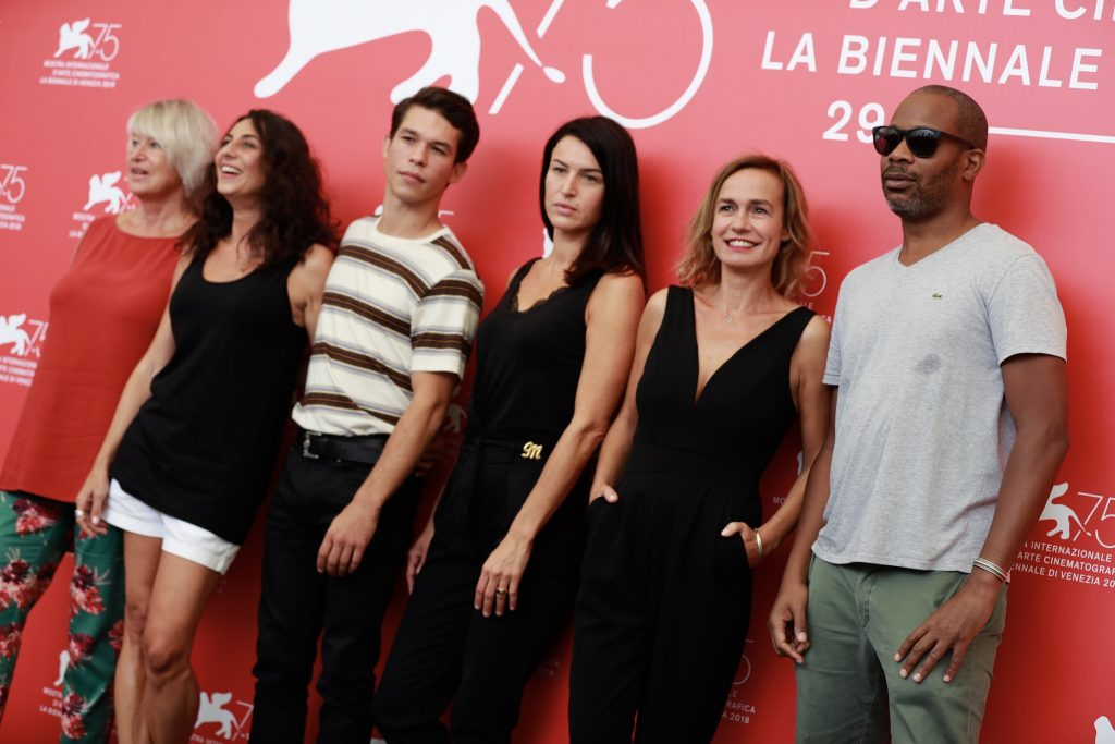 Sarah Marx (centered) at photo call in Venice Film Festival